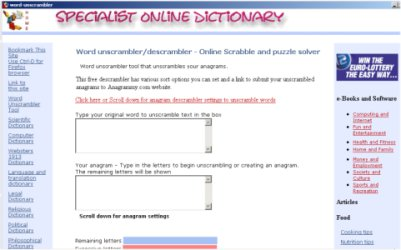 Word Unscrambler tool - Click for fullscreen